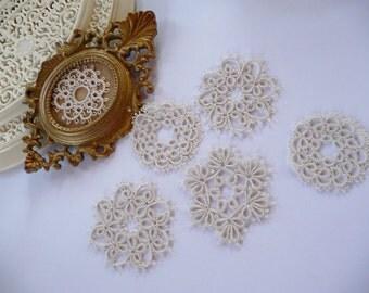 Set of six coasters lace  - ivory coasters-handmade doilies -  home decor - lace coasters- table decor-retro party - vintage style