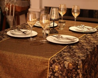 Rectangle Tablecloth 60 X 90, Asian Print, Brown, Chocolate, Dining Table,