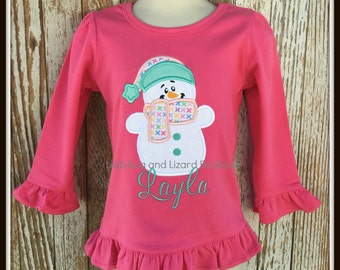 Girl's Cozy Snowman Long Sleeve Pink Ruffle Top with Monogram Sizes 12M-18M 2T-5T, 6
