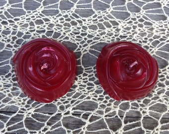 Hand-poured Red Rose Candles (Set of 2)