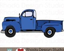 Vintage Pickup Truck Full Side Stamp Digital Clip Art Retro
