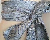 Something Blue Asian Brocade Obi Sash, Blue Brocade obi belt, wedding belt sash, reversible waist cincher