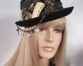 Goth Steampunk Hat black and gold Mad Hatter Hat Wave Gothic hat Viktorian Mythical Style