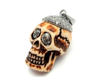 12% Mothers Day SALE Pave Diamond Brown Bone Skull Pendant with Oxidized Sterling Silver Cap and Bail Pave Diamond --(EX31-01)