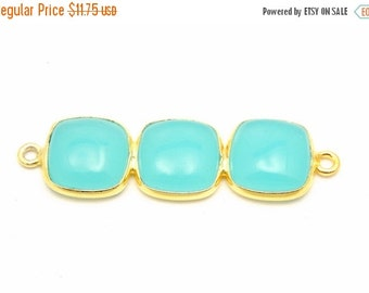 12% off Wholesale Sea Green Chalcedony Triple Square Pendant Connector - Three 10mm Gold Over Sterling Square Attached Bezels Double Bail Pe