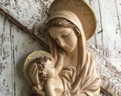 Mary Baby Jesus Chalkware Wall Hanging, Mary Mother of God and Jesus Christ Chalk ware