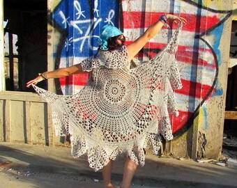 Crocheted Vest Pattern, Gypsy Boho Chic, Round Crocheted Vest