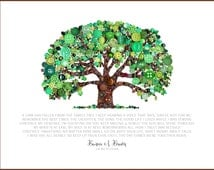 Loss of Loved One Print Button Art Tree of Life Fall Leaves Green Leaves A Limb Has Fallen Family Tree Death Loss Poems Sympathy Gifts
