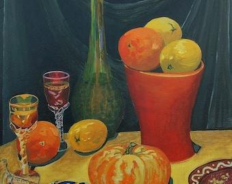 Banquet Still Life Original Acrylic Painting oranges, lemons, pumpkin, liquor glass, wine bottle, fruits