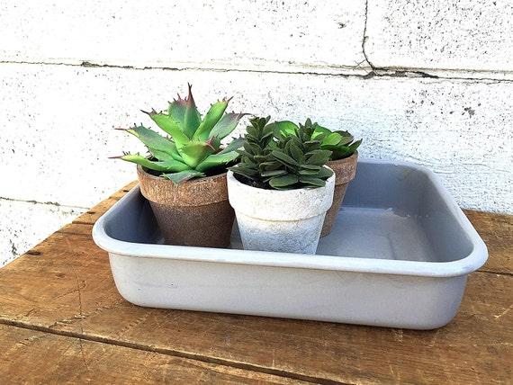 grey enamel tray gray enamelware baking dish small vintage. Black Bedroom Furniture Sets. Home Design Ideas