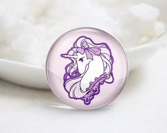 Handmade Round Unicorn Photo Glass Cabochons (P3556)