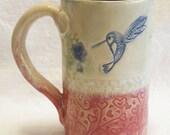 Violet hummingbird ceramic mug 16oz stoneware 16B045