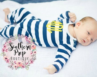 NAVY STRIPE Long Sleeve Monogrammed Romper - Boy's pajamas - Boy's Holiday outfit - Long Sleeved romper