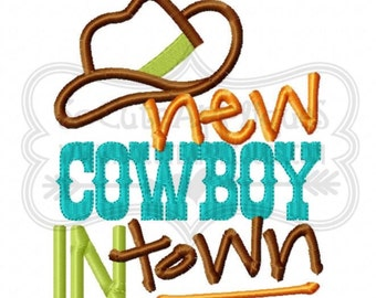 New Cowboy in town boy's applique shirt - boys holiday shirt - birthday shirt - western theme design
