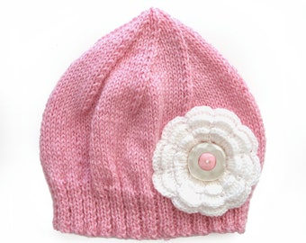 Girls Retro Pink Knitted Wool Beanie Hat with White Flower & Buttons . Winter Warm . Very Cute . SIZE 4 5 6 7 .  OOAK . Made in Australia