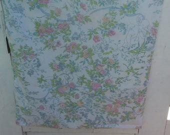 Vintage floral angel pillowcase, flowers in pink, blue, and pale orange, and green leaves, westpoint-pepperell, retro pillowcase, bedding