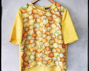 woven silk tee made from vintage kimonos