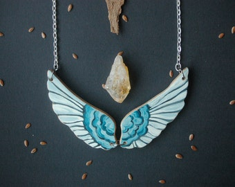 Hand painted wing necklace wooden necklace large angel wings necklace  tribal necklace girt for her
