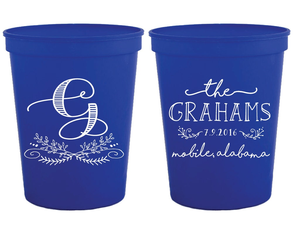Wedding Cups Wedding Favors Monogrammed Wedding Cups Party