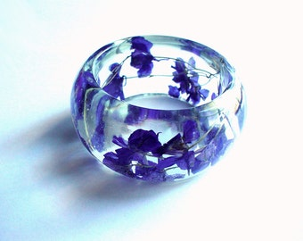 Hand Made Chunky  Real Blue Larkspurs Resin Bangle,Real Flower,Gift idea