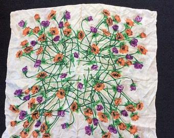 GLORIOUS ORANGE& PURPLE poppies-vintage hair scarf