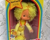 CHRISTMAS In July SALE Vintage 1980s Rainbow Brite Canary Yellow Doll and Spark Sprite In Original Box