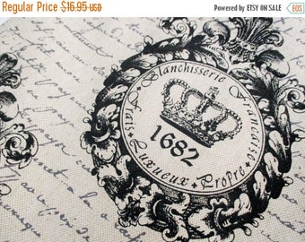 FALL SALE 20% Off Crown Parchment Script Fabric, By The Yard, Upholstery Linen Weave~RARE Hard to Find Chic Shabby