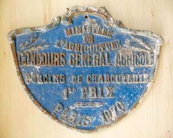 Vintage French Metal Sign Paris Award Plaque Medal Prize Agricultural Show Trophy Prize Plaque