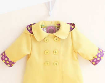 DOT POP Hooded Girl Baby Girl Jacket pattern Pdf sewing,  Raincoat Double Breasted, Pockets, Toddler newborn 3 6 9 12 18 m 1 2 3 4 5 6 yrs