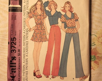 McCall's Vintage Sewing Pattern 3725 Young Junior Size 13/14 Top, Skirt and Pants 1973