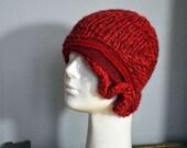 red Beanie UNIQUE hand knited asymmetric retro cloche, soft wool and acrilic yarn, red felt decoration, ooak hat, warm winter knit hat