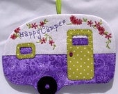Vintage Happy Camper Mug Rug - Purple Sage Green
