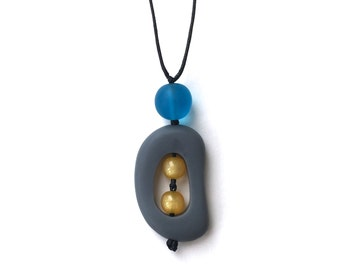 SALE - Resin Nursing Necklace/ Breastfeeding Necklace - Monkey Mama Twiddle Buster - Grey, Yellow and Turquoise Blue