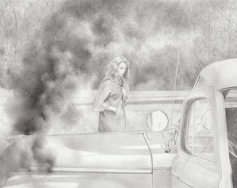 break down, graphite pencil drawing of a woman standing next to a vintage car with a smoking engine, original framed drawing, ready to hang