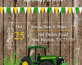 Green tractor invite, tractor invitations, on the farm invitations, green tractor, boy invitations, tractor invite, green tractor invitation