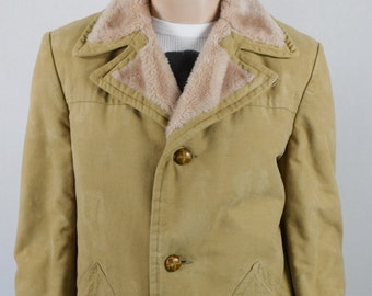 Vintage Men's 1970's STRATOJAC Faux Suede & Faux Shearling Career HiPsTeR Coat L