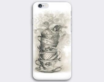 Tea cups phone case // Illustrated phone case // iPhone 7 / 7 Plus / 6 / 6S / SE / 5 / 5S // Samsung Galaxy S7 / S6 / S6 Edge / S5