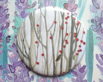 Pocket mirror // Compact Make-up Mirror // Branches and berries