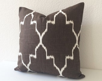 Both sides, Modern brown moroccan ikat decorative pillow cover, accent pillow, throw pillow