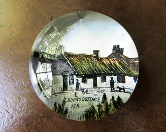 Antique Glass Paperweight - Scotland Souvenir - Poet Robert Burns Birthplace - Country Decor - Desk Decor - Unique Gift - Stocking Stuffer
