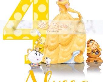 Disney Princess Birthday Shirt, Personalized Birthday Shirt, Princess Birthday, Belle Birthday Shirt, Beauty and the Beast Birthday Shirt