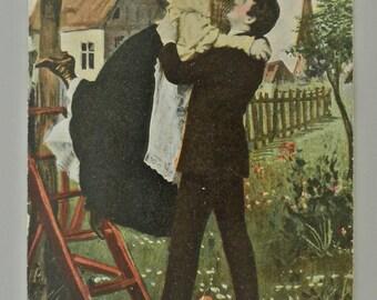 Post 1907 Split Romantic Postcard Unused.