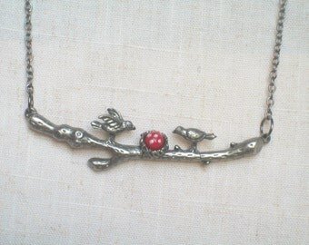 Red Bird Egg Necklace, Birds Nest, Robin Egg, Pewter Branch, Birds on a Branch, Birds and the Bees, Bohemian, Gypsy, Hippie, Naturalist