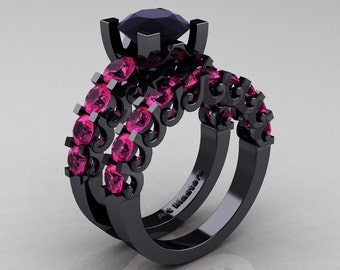 Modern Vintage 14K Black Gold 3.0 Ct Black Diamond Pink Sapphire Designer Wedding Ring Bridal Set R142S-14KBGPSBD