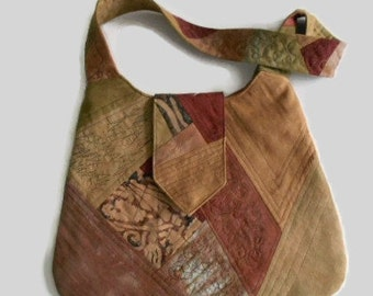 Quilted Handbag Purse Hand Dyed Cotton Rayon Accents Shades of Brown