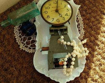 Antique Master Crafters Clock Face + Skeleton Frame, Steampunk Art or Home Decor, Clock Parts, Victorian Clock Parts, Craft Jewelry Supplies