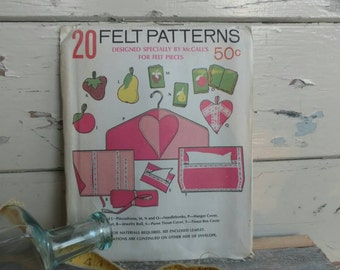 Retro UNCUT Home Accessories + Home Decor Sewing Patterns for Felt - Vintage McCall's Sewing Pattern Collection, Sewing With Felt by McCalls