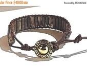 Clearance Sale Mens Leather and Gemstone Wrap Bracelet - Aztec Design Button Clasp