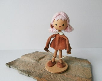 Vintage Handmade Doll, Girl with Jump Rope, Leather Dress, Made in Poland Folk Doll, For Display Only