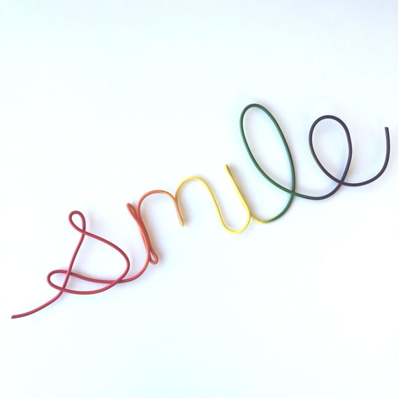 Cursive Smile Sign Wire Wall Word Hanging Word Sign Rainbow